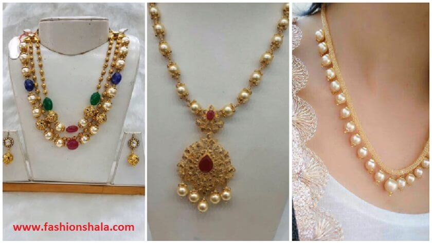283749bf29e00 Latest Gold Pearl Necklace Designs - Kurti Blouse