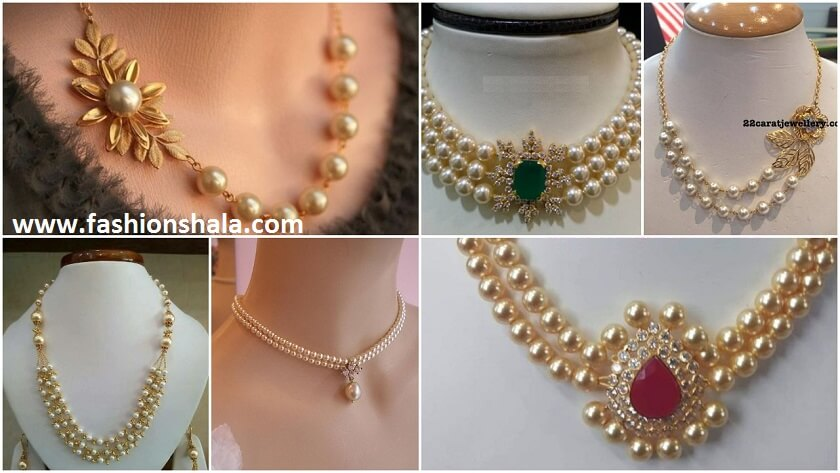 023ae475d806c Stunning Gold Pearl Necklace Jewelry - Kurti Blouse