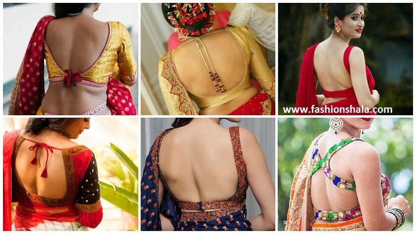 Above Backless saree blouses designs for women
