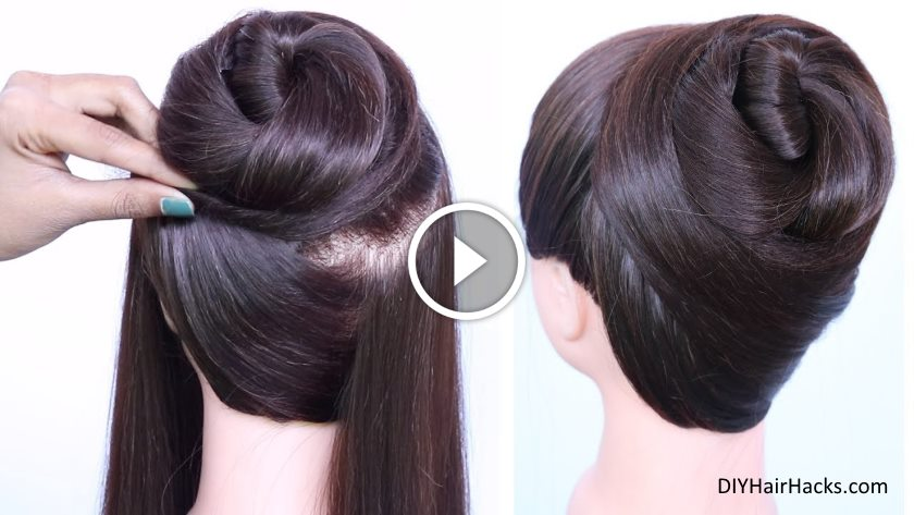 New Latest Bun Hairstyle With Trick Kurti Blouse